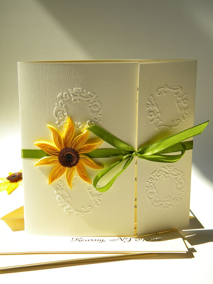 sunflower wedding invitations printable%0A A beautiful sunflower wedding invitation with green satin ribbon and  vanilla embossed cardstock  Looks wonderful