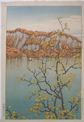 Senjo Cliff, Lake Towada by Kawase Hasui, 1933 - Japanese Color Woodblock Print - The Lavenberg Collection of Japanese Prints