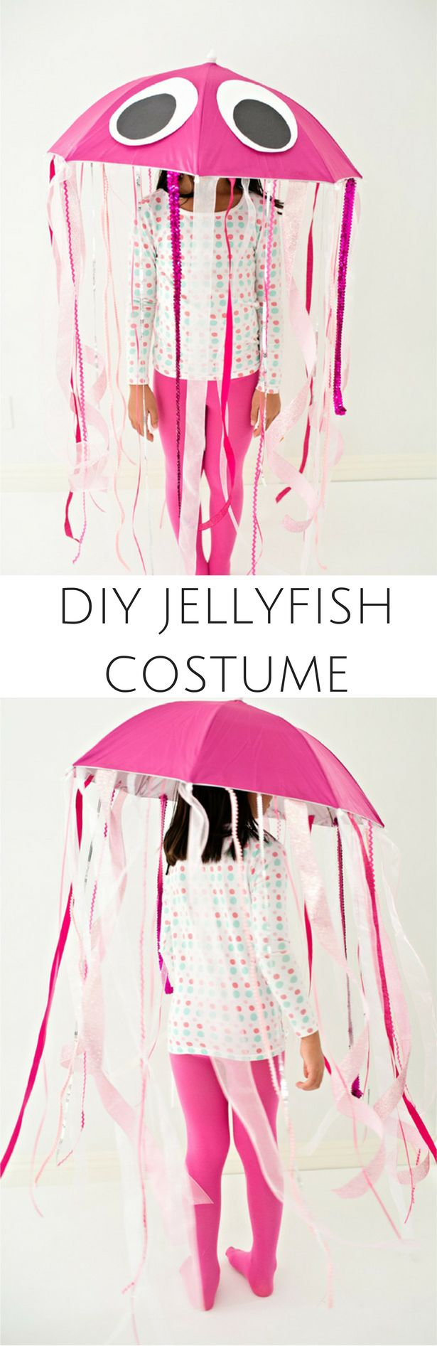 Easy DIY Pink Jellyfish Halloween Costume for Kids. Make this adorable under the sea costume