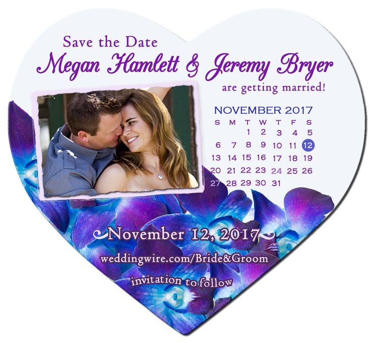 Save the Date Blue Purple Orchids, Calendar Heart Photo Magnet, Heart, Calendar, Orchids Save the Date, Violet Save the Date, Thank You by SaveTheDateMagnets4U on Etsy
