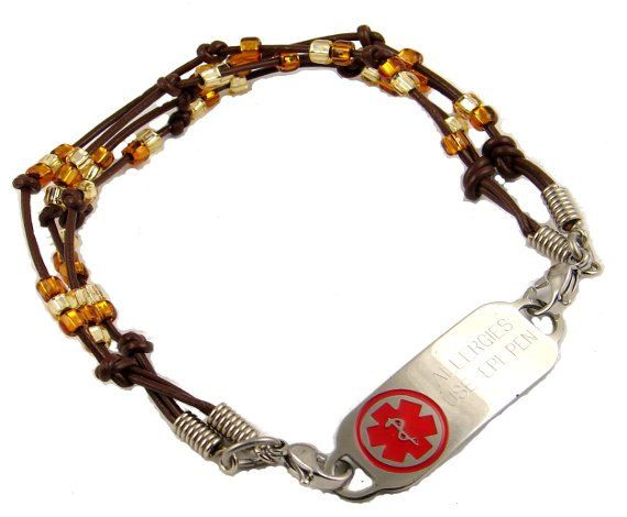 Twiggy Medic Alert Bracelet Leather and Seed Beads FREE engraved Medical ID Tag on Etsy, $39.99