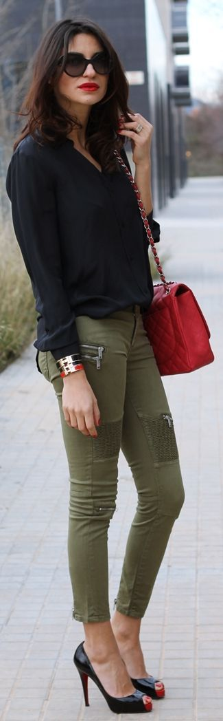Zara Khaki Skinny Jeans by Farabian Louboutins & Chanel Bag. Love the whole look!