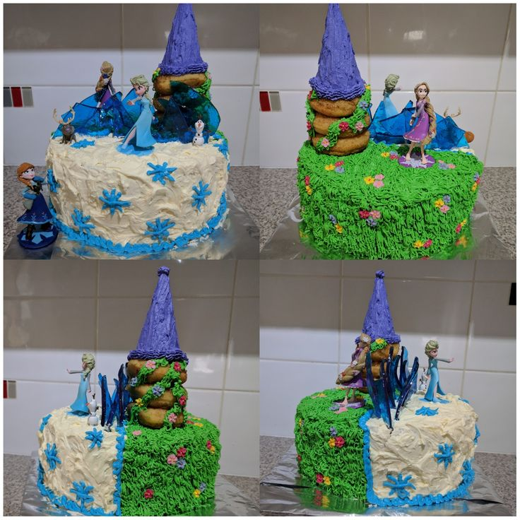 Daughters 5th birthday cake. She requested Elsa and Rapunzel
