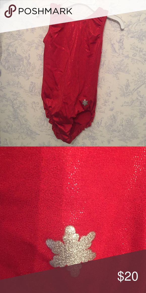 Leotard Sparkly red snowflake leotard. Size medium. One Pieces Bodysuits