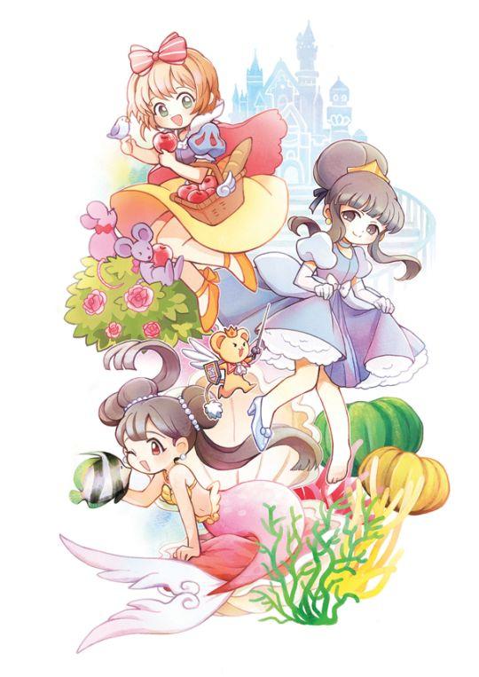 Snow White Sakura, Cinderella Tomoyo, Ariel Meilin, & little knight Kero