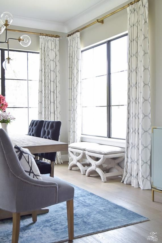 Windsor Smith Riad Custom Pleated Drapes Shown In Pearl Etsy Dining Room Curtains Living Room Drapes Curtains Living Room