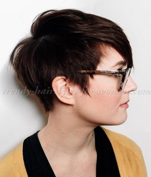 short hairstyles with long bangs - asymmetrical pixie haircut