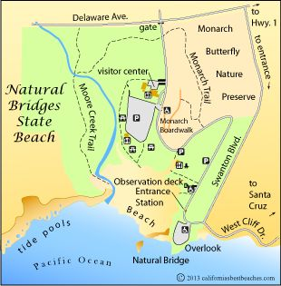Natural Bridges Beach map, Santa Cruz County, CA