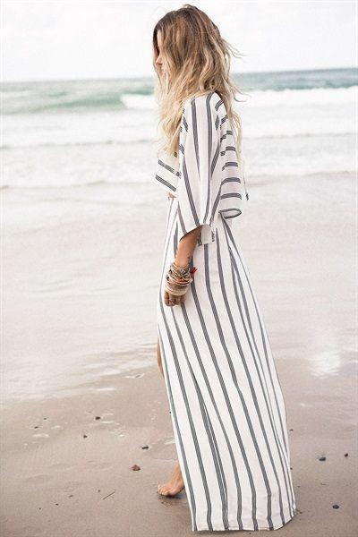 robe longue rayé, summer, spring, beach