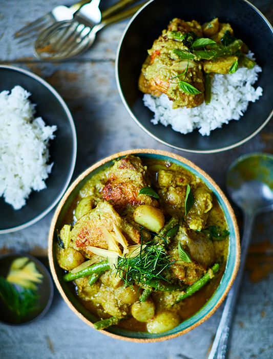 Prep Time: 30 Minutes | Cooking Time: 40 MinutesServes 3Admittedly, this dish requires a bit of preparation, but firing up the barbecue and marinating the chicken is worth it, trust us. Invite friends round and do most of the prep beforehand– after all, who doesn't love a Thai green curry?