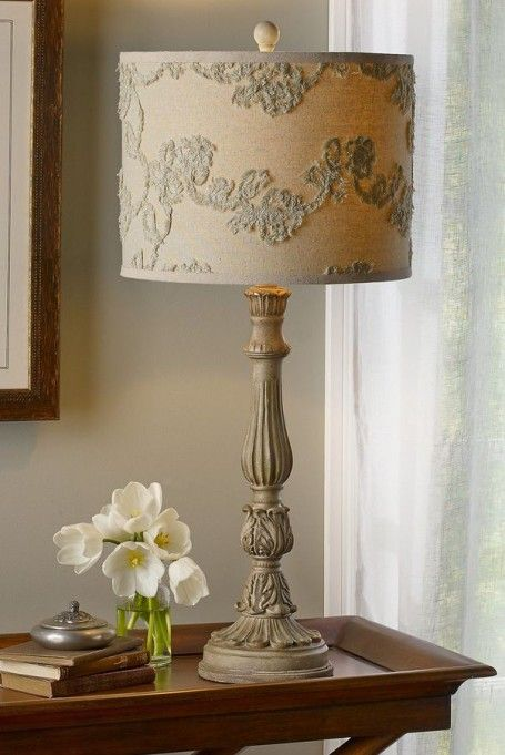 Juliet Lamp from Soft Surroundings ///  Lovely small space.   Like the lamp and small table.