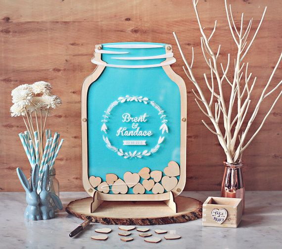 Mason Jar Size 2 Wedding Guest Book Alternative - Tiffany Blue wedding MJ2