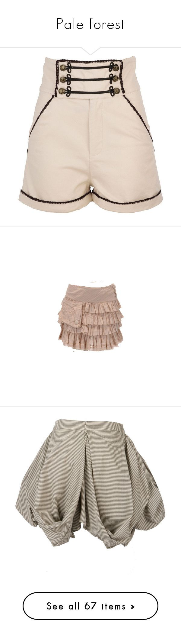 """Pale forest"" by hachi13 on Polyvore featuring shorts, military style shorts, military shorts, high waisted cotton shorts, high-waisted shorts, cream shorts, skirts, bottoms, steampunk y pocket skirt"