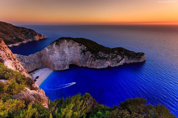 Ocean, Zachód Słońca, Wybrzeże, Plaża, Navagio, Grecja