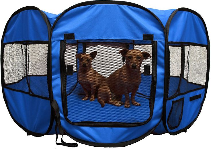 The OxGord Portable Pet Playpen is a polyester enclosure that can be used indoors or outdoors to give pets a safe play area. It's perfect for nursing mothers with newborn puppies, yards without fences, or for giving indoor cats a little outside time and fresh air. You can create a comfortable setup with toys, food, water and beds so your pet can play or nap while you go about your daily routine. The OxGord Portable Playpen has a removable top and bottom, eight mesh windows, two zippered side…