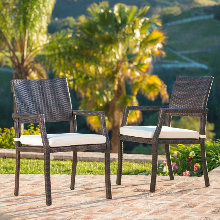 Rhode Island Outdoor Wicker Dining Chair Chair with Cushion