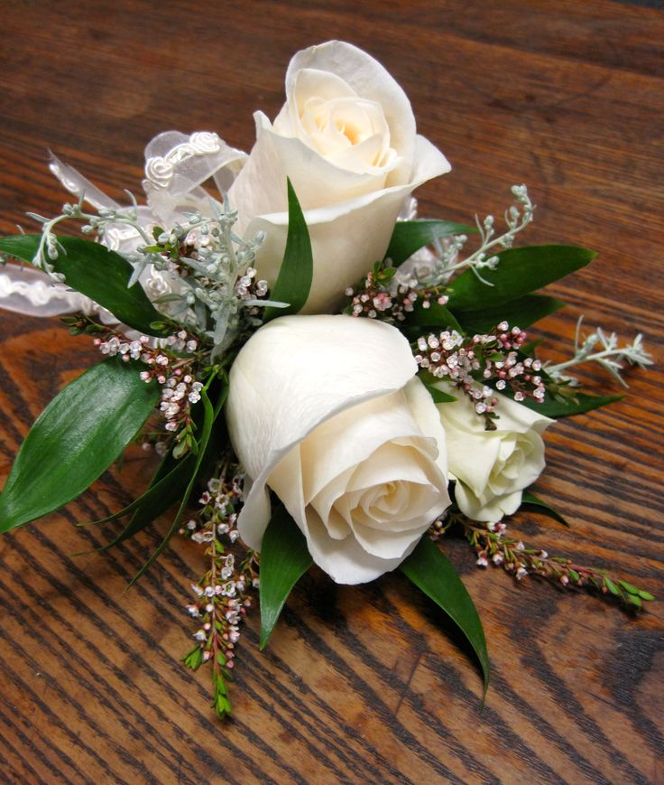 Wedding Flowers Corsage Ideas: Mother Of The Bride Corsage, White Roses With Calcynia