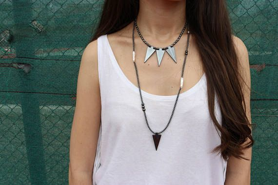 Hematite Triangle Necklace, Hematite Beads Necklace, Hematite Beaded Necklace, Triangle Jewelry, Gift for Her, Made in Greece.