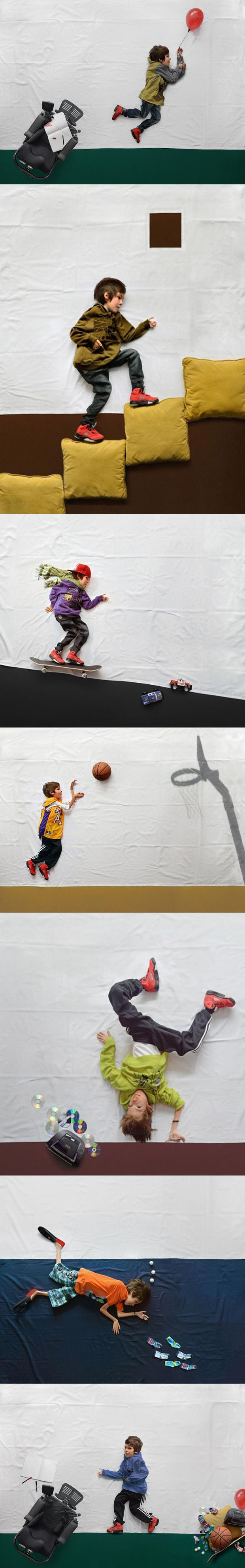 A boy with muscular dystrophy has his imagination brought to life through photos.