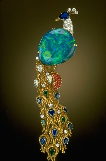 Harry Winston pin; donated to the Smithsonian.: Peacocks, Harry Winston, Winston Pin, Diamonds, Opals Peacock, Black Opals, Lightning Ridge, Jewelry, Peacock Brooches