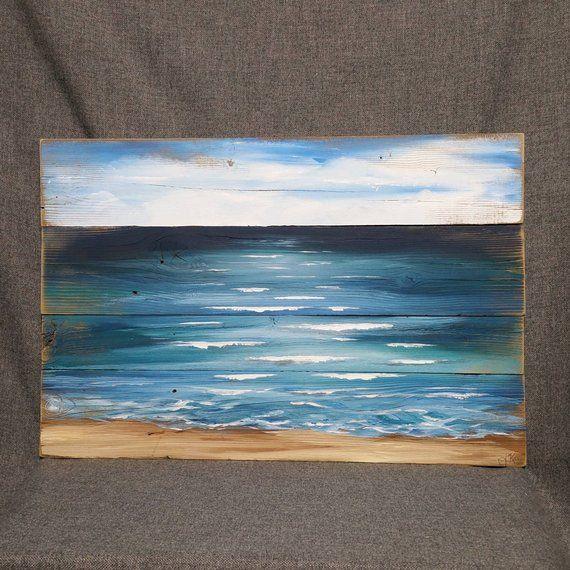 Pallet Beach Painting Pallet Ocean Wall Art Beach Blues