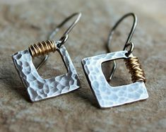 Hammered Silver Earrings with 14K Goldfill Wire Wrap