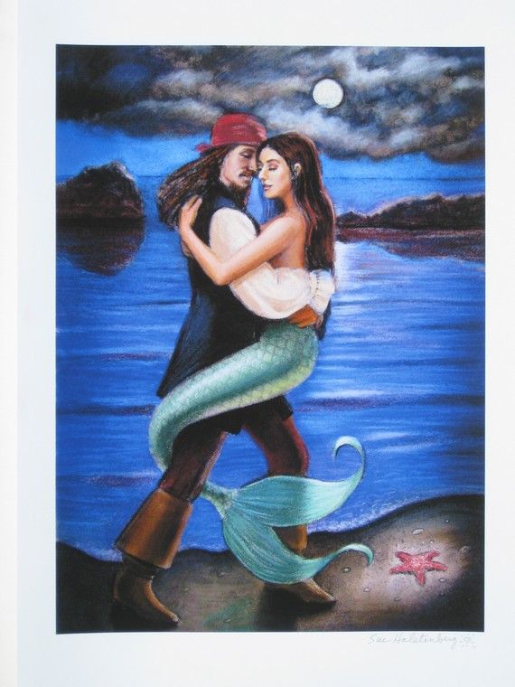 Mermaid Art pirate romantic Caribbean fantasy poster Print of painting by Sue Halstenberg on Etsy, $28.72 AUD