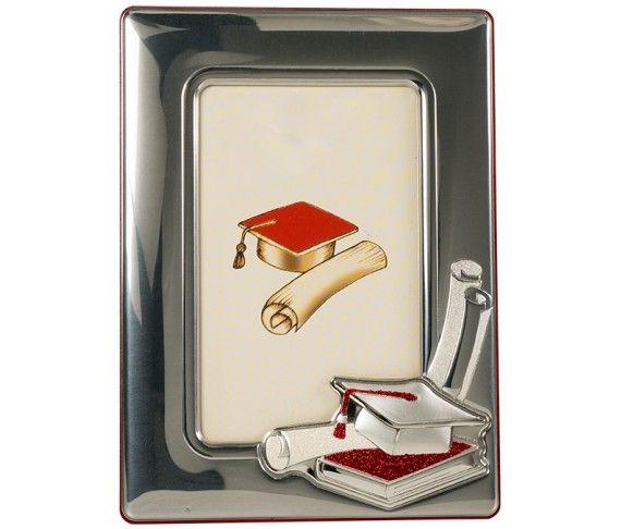 33,20 € - Portafoto con placca laurea, realizzato in argento laminato, fantastica idea regalo per laurea, cm. 9x13.