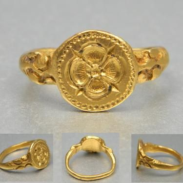 "16th century gold signet ring with a rose to centre and lions to shoulder. The Latin phrase sub rosa means ""under the rose"" and is used in English to denote secrecy or confidentiality, similar to the Chatham House Rule. The rose as a symbol of secrecy has an ancient history.  