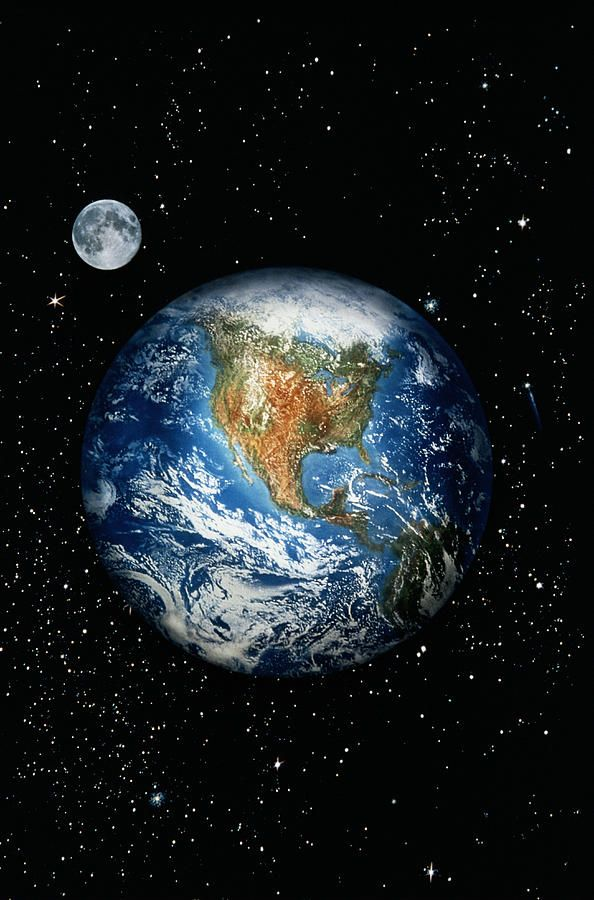 Earth With North America & Outer Space Photograph - Earth ...