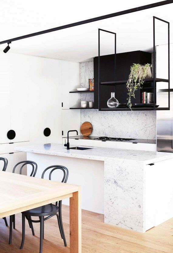 Floating Ceiling Bracket Hanging Shelf Etsy In 2020 Marble Kitchen Island Kitchen Marble Dining Room Combo