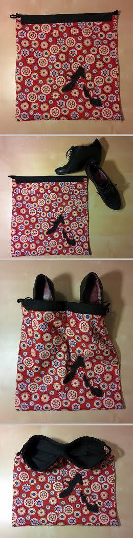 Bolsa para zapatos de flamenco. O para los que quieras. Con una separación en la parte de dentro para que no se rocen uno con otro.