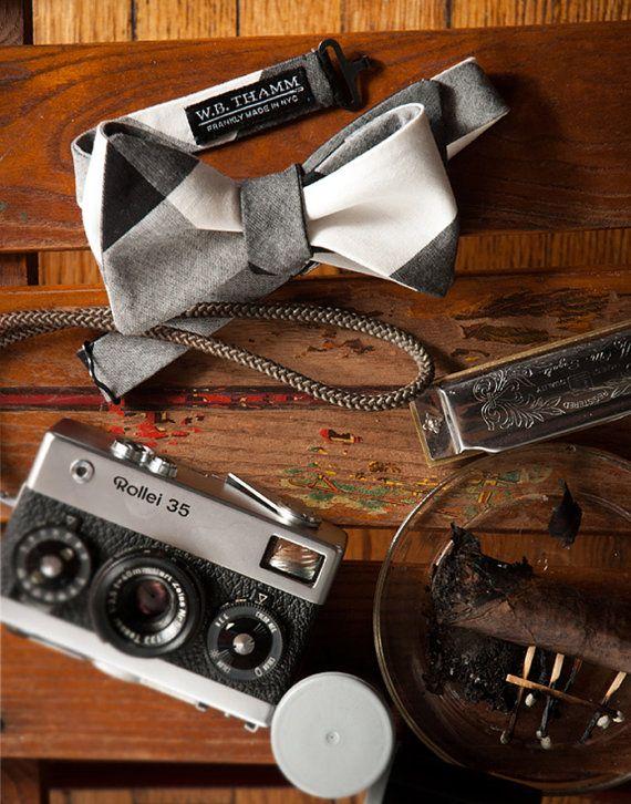 Robert Men's Bow tie Cotton Buffalo Plaid White/Black by WBTHAMM