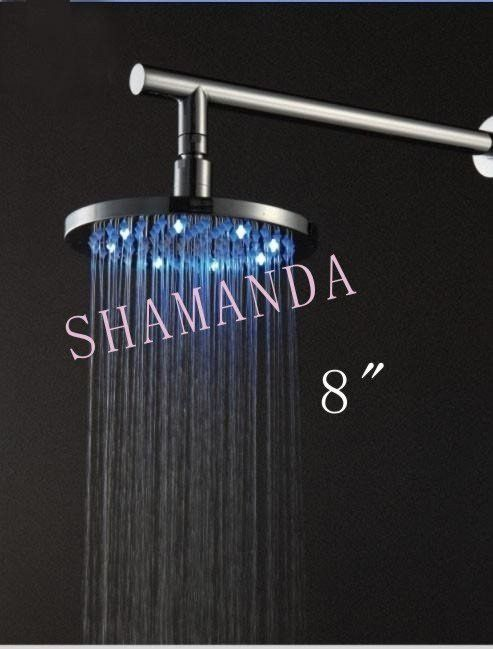 """Free Shipping 8"""" inch LED shower head with brass 200mm self-powered led shower head light shower three color 20001"""