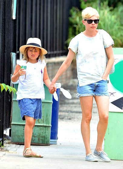 Michelle Williams  The actress and her 6-year-old daughter, Matilda, opted for matching white and denim ensembles to spend the day in their Brooklyn neighborhood with Williams' boyfriend, Jason Segel.