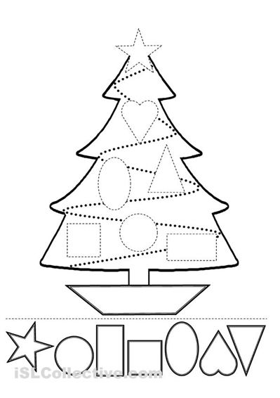 Follow the directions: Have the students color the shapes and glue them on the tree.