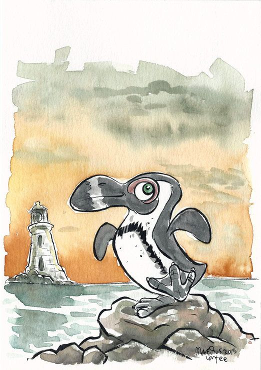 Penguin watercolour illustration by Terrapin and Toad, for sale on http://hellopretty.co.za