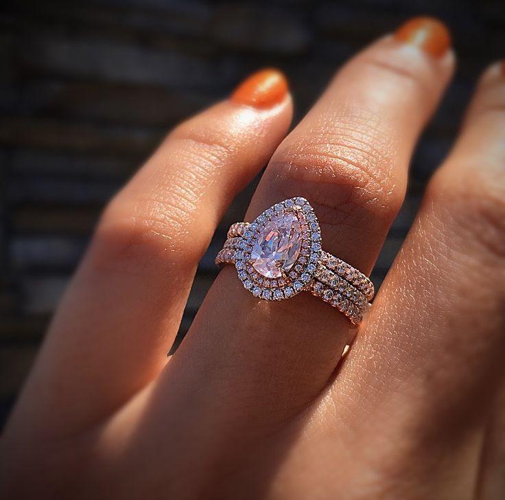 18k White Gold GIA 101ct Pink Pearshape Diamond Engagement Ring RingsDiamond Wedding BandsWedding RingsPear Shaped