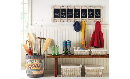 Dreamy-foyer-main: Coats Hooks, Chalkboards, Idea, Coats Racks, Benches, Barrels, Mudrooms, Mud Rooms, Laundry Rooms