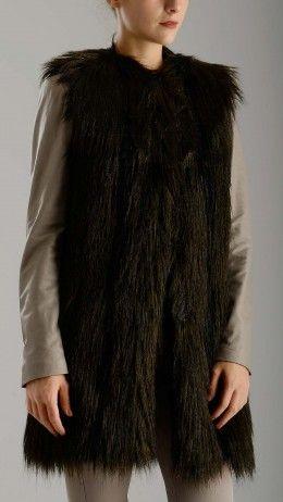 Dark green faux fur waistcoat