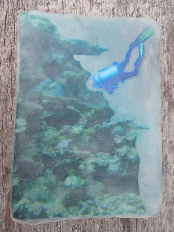 Encaustic montage of diver and coral images by StephanieJMilne http://www.stephaniejmilne.com