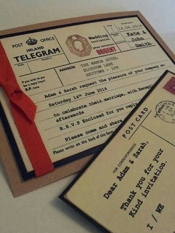 Fantastic Vintage British Post Office Telegram style Wedding Invitations in my Etsy shop - Check out this item in my Etsy shop https://www.etsy.com/listing/233860647/vintage-style-british-post-office