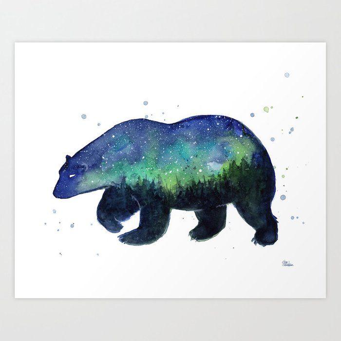 Polar Bear Silhouette With Northern Lights Galaxy Art Print