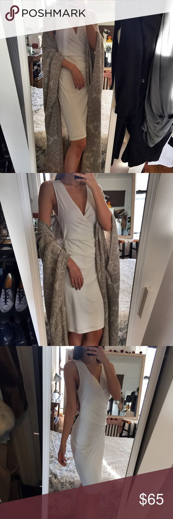Graham and Spencer White Sleeveless Draped Dress White elegant body hugging draped dress by Graham & Spencer. This dress is in perfect length to the knees and is very comfortable. This is a size P and fits like a XS. In mint condition Graham & Spencer Dresses Midi