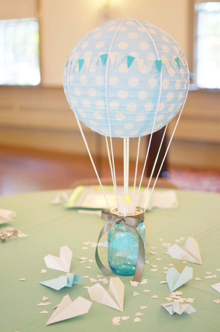 Our change of art hot air balloon centerpiece boys for Balloon decoration ideas for christening