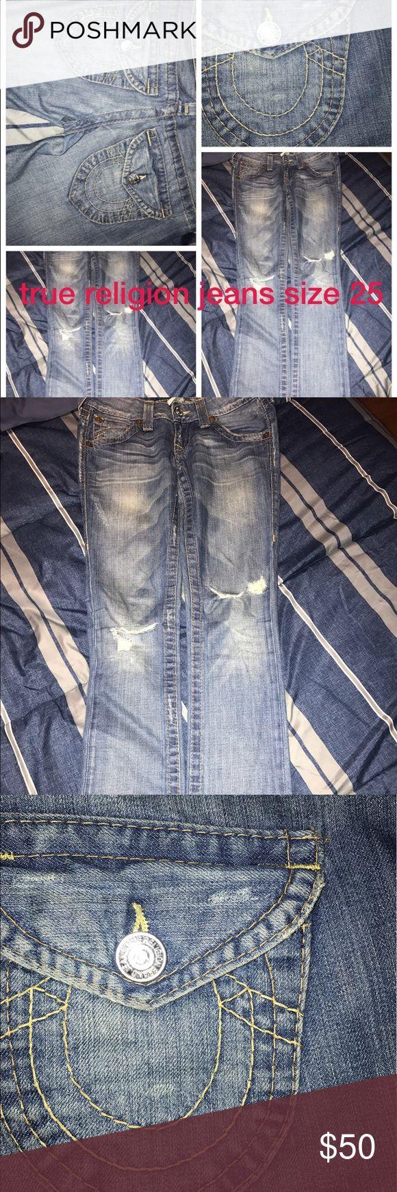 True religion Jean True religion Jeans lite blue with yellow seams. Size 25 True Religion Jeans Straight Leg