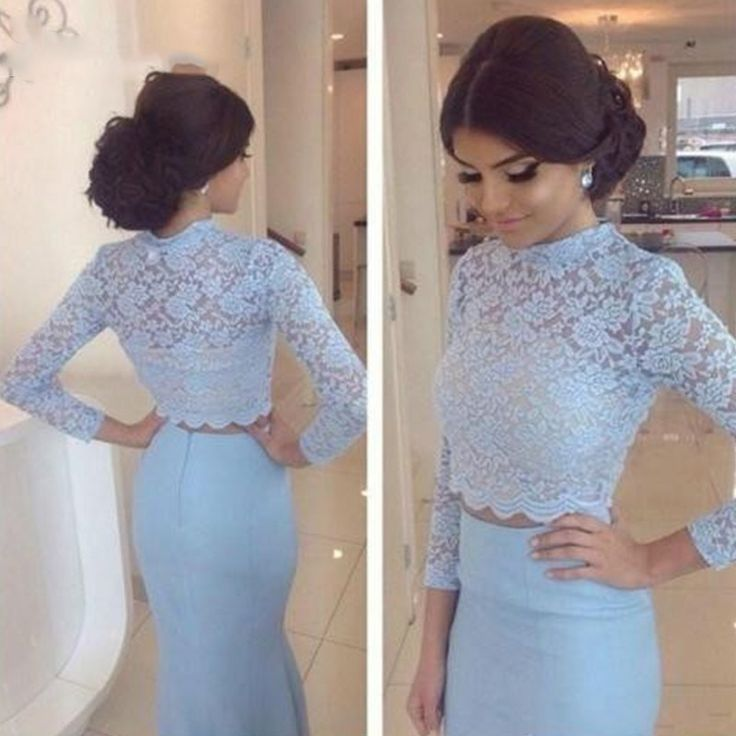 Find More Prom Dresses Information about  Two Piece Blue Prom Evening Dresses 2016 Long Sleeve 2 Piece High Neck Lace Mermaid Dress For Graduation Custom Made,High Quality dress 5,China dress long sleeve tunic dress Suppliers, Cheap dress up plain dress from Lover dress on Aliexpress.com