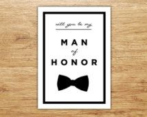 Will You Be My Man of Honor, Wedding Party Card, Man of Honor, Bridal Invitation, Best Man Card, DIGITAL, Bowtie, Male Bridesmaid, Modern