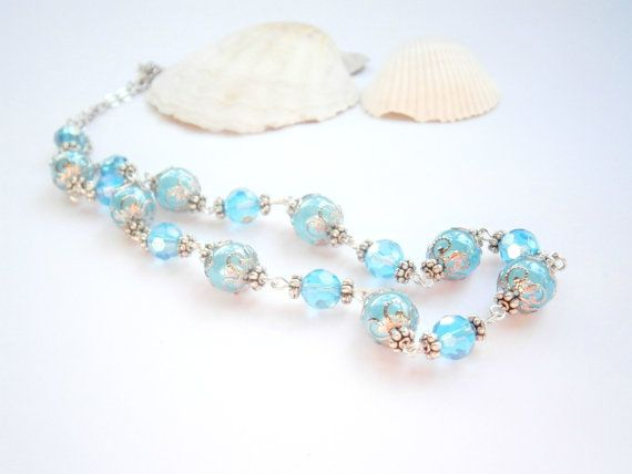 Blue Beaded Necklace  Turquoise and Light Blue by GlamorousSparkle