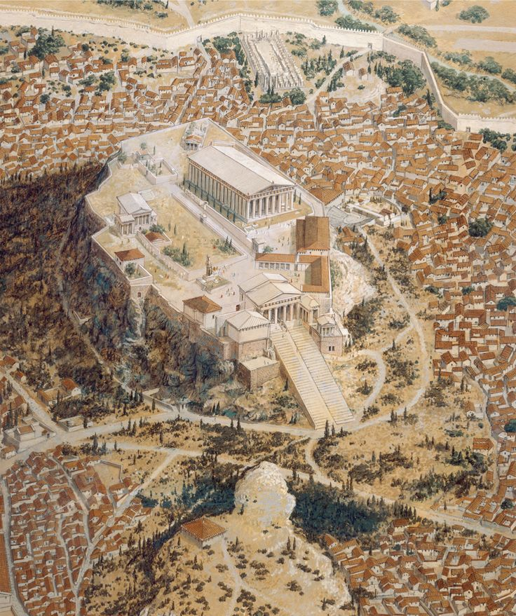 """3.16 """"Reconstruction view of the Acropolis"""", Athens, Greece, at the beginning of the 4th century BCE"""